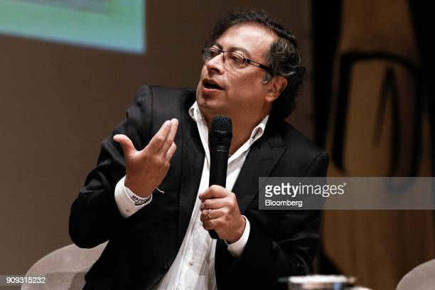 Gustavo Petro presidential candidate for the Progressivists Movement Party speaks during a National Environmental Forum discussion in Bogota Colombia...