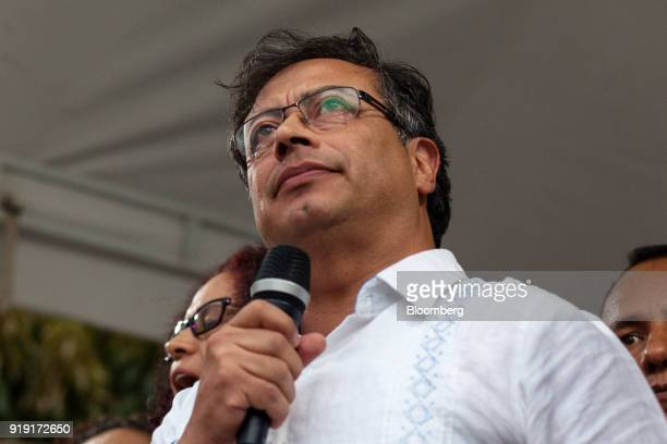 Gustavo Petro presidential candidate for the Progressivists Movement Party attends a campaign rally in Medellin Colombia on Friday Feb 16 2018 With...
