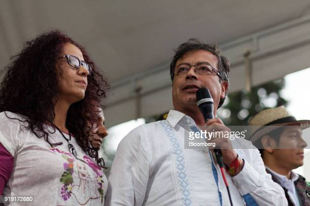 Gustavo Petro presidential candidate for the Progressivists Movement Party right speaks during a campaign rally in Medellin Colombia on Friday Feb 16...