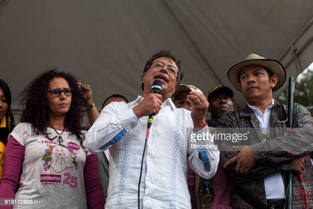 Gustavo Petro presidential candidate for the Progressivists Movement Party center speaks during a campaign rally in Medellin Colombia on Friday Feb...