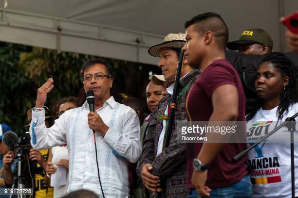 Gustavo Petro presidential candidate for the Progressivists Movement Party left speaks during a campaign rally in Medellin Colombia on Friday Feb 16...