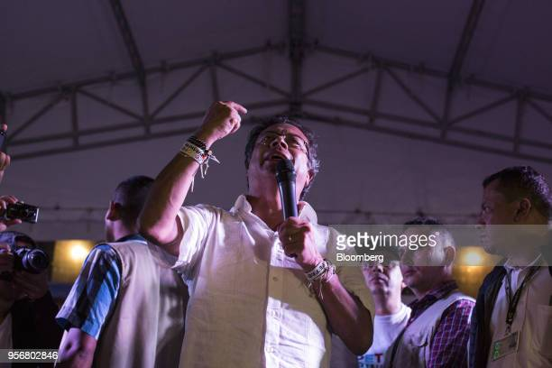 Gustavo Petro presidential candidate for the Progressivists Movement Party gestures as he addresses a campaign rally in Pereira Colombia on Wednesday...