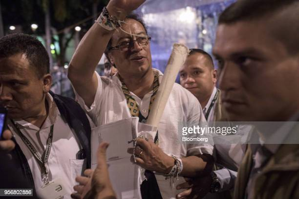 Gustavo Petro presidential candidate for the Progressivists Movement Party greets supporters during a campaign rally in Pereira Colombia on Wednesday...