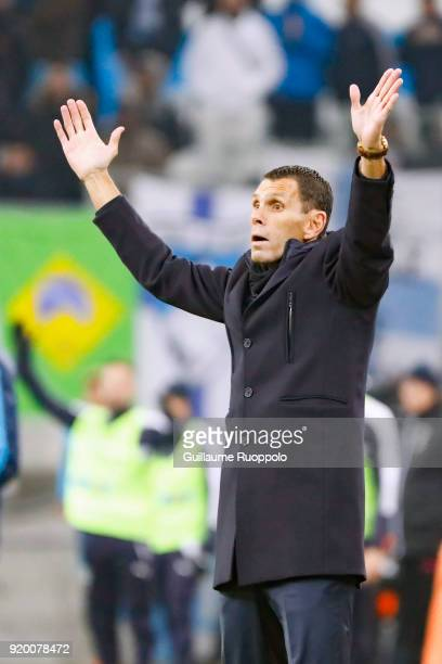 Gustavo POYET coach of Bordeaux during the Ligue 1 match between Olympique Marseille and FC Girondins de Bordeaux at Stade Velodrome on February 18...