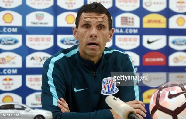 Gustavo Poyet head coach of Shanghai Shenhua attends the press conference ahead of Chinese Super League between Jiangsu Suning and Shanghai Shenhua...