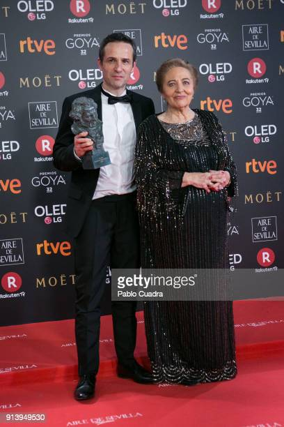 Gustavo Salmeron holds the Best Documentary award for the film 'Muchos hijos un mono y un castillo' during the 32nd edition of the Goya Cinema Awards...