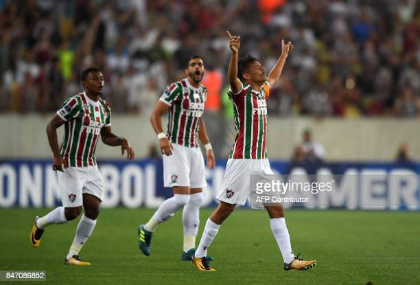 Gustavo Scarpa of Brazil's Fluminense celebrates with teammates after scoring against Ecuador's Liga de Quito during their 2017 Sudamericana Cup...