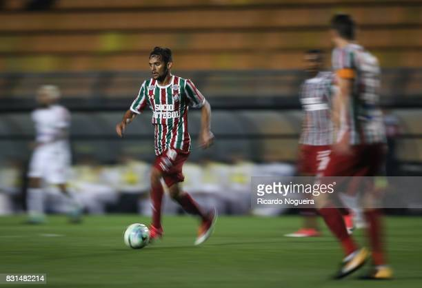 Gustavo Scarpa of Fluminense in action during the match between Santos and Fluminense as a part of Campeonato Brasileiro 2017 at Pacaembu Stadium on...
