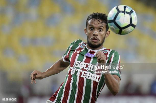 Gustavo Scarpa of Fluminense in action during the match between Fluminense and Sao Paulo as part of Brasileirao Series A 2017 at Maracana Stadium on...