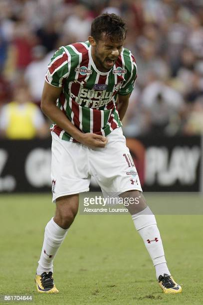 Gustavo Scarpa of Fluminense reacts during the match between Fluminense and Avai as part of Brasileirao Series A 2017 at Maracana Stadium on October...