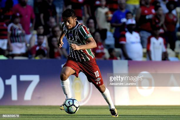 Gustavo Scarpa of Fluminense runs with the ball during the match between Flamengo and Fluminense as part of Brasileirao Series A 2017 at Maracana...