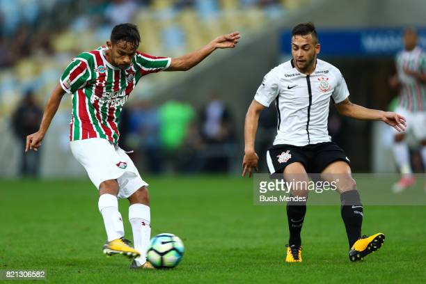 Gustavo Scarpa of Fluminense struggles for the ball with Maycon of Corinthians during a match between Fluminense and Corinthians as part of...
