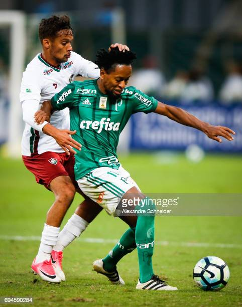Gustavo Scarpa of Fluminenseand Ze Roberto of Palmeiras in action during the match betewenn Palmeiras and Fluminense for Brasileirao Series A 2017 at...