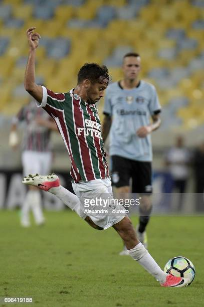 Gustavo Scarpa of Fluminense in action during the match between Fluminense and Gremio as part of Brasileirao Series A 2017 at Maracana Stadium on...
