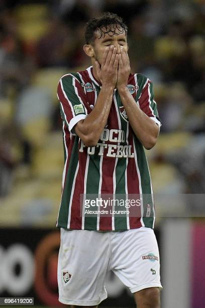 Gustavo Scarpa of Fluminense reacts during the match between Fluminense and Gremio as part of Brasileirao Series A 2017 at Maracana Stadium on June...