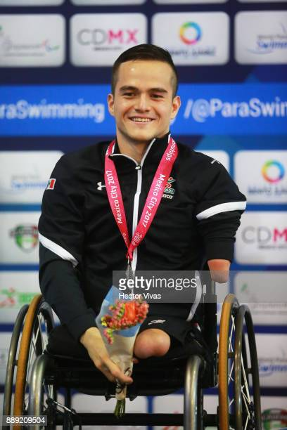 Gustavo Sánchez of Mexico Silver Medal celebrates in men's 150 m Individual Medley SM4 during day 7 of the Para Swimming World Championship Mexico...
