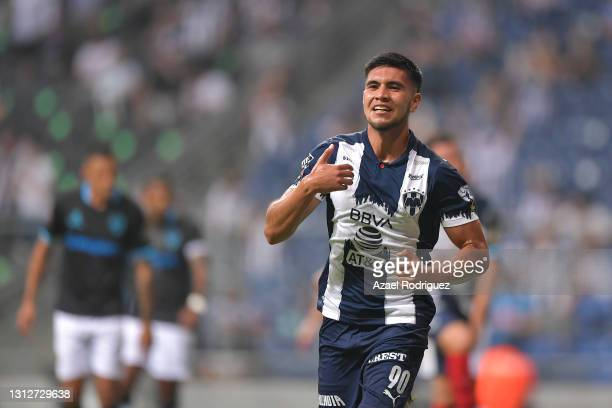 Gustavo Sánchez of Monterrey celebrates after scoring his team's first goal during a second leg match between Monterrey and Atletico Pantoja as part...
