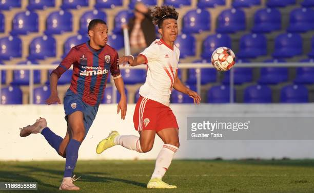 Gustavo Tocantins of UD Vilafranquense with Gustavo Souza of CD Cova da Piedade in action during the Liga Pro match between CD Cova da Piedade and UD...