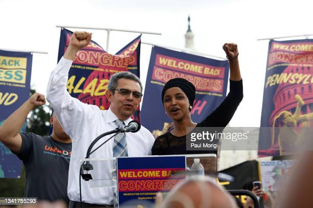 Gustavo Torres, Executive Director, CASA and Rep. Ilhan Omar speak as Thousands welcome back Congress by marching for Citizenship, Care, And Climate...