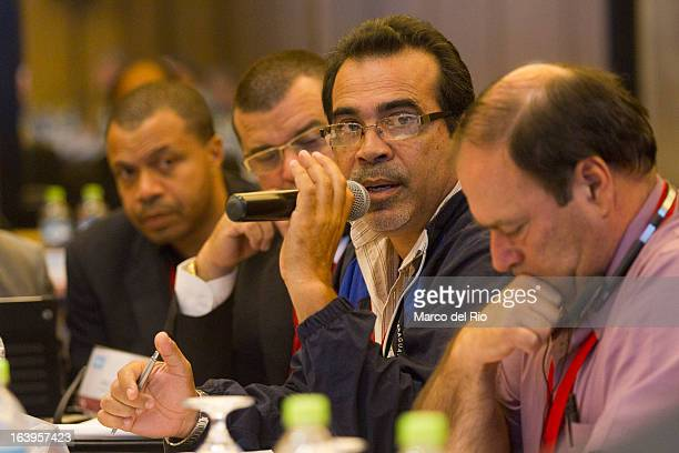 Gustavo Xavier Arguello of Nicaragua talks during the CONCECADE presentation as part of XIX Sports Minister of America and Iberoamerica Meeting...