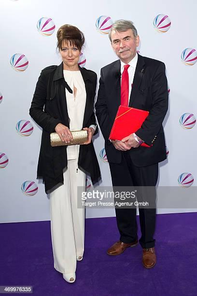 Gustl Mollath and Gabriele Pauli attend the 'Der Ruecktritt' photocall at Kino International on February 17 2014 in Berlin Germany