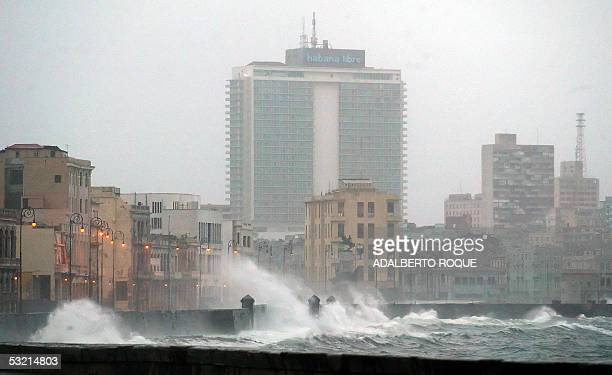 Gusts anticipating Hurricane Dennis batter Havana's malecon 08 July 2005 Powerful Hurricane Dennis crashed ashore in central Cuba Friday packing...