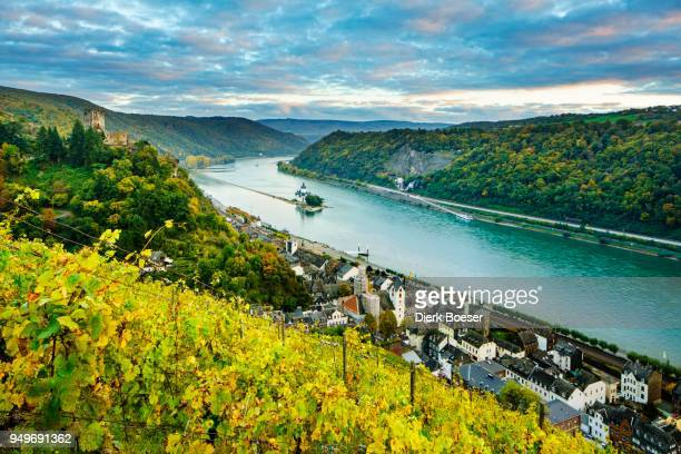 Gutenfels Castle and Pfalzgrafenstein Castle in the Rhine, Kaub, UNESCO World Cultural Heritage Site, Upper Middle Rhine Valley, Rhineland-Palatinate, Germany