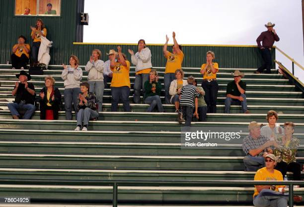 Guthrie Jaguars' fans cheer on the team during their matchup with the Patton Springs Rangers in their six man football matchup on October 11 2007 in...