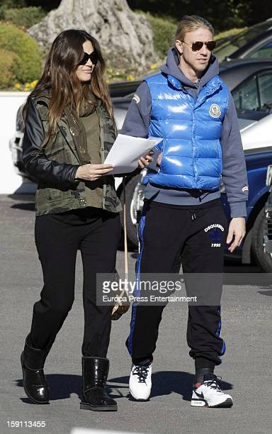 Guti and Romina Belluscio nine months pregnant are seen on January 3 2013 in Madrid Spain