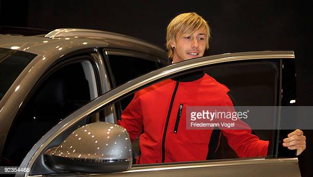 Guti looks on during the Audi Car Handover and Snow Driving Experience with Real Madrid at the Snowzone on October 26, 2009 in Madrid, Spain.