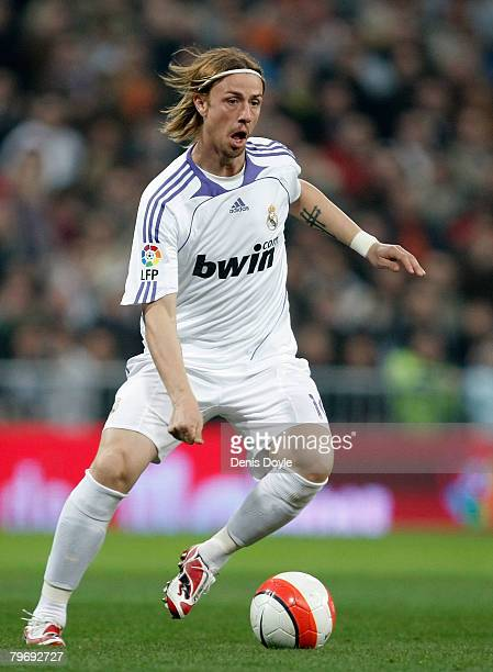 Guti of Real Madrid brings the ball forward during the La Liga match between Real Madrid and Valladolid at the Santiago Bernabeu stadium on February...