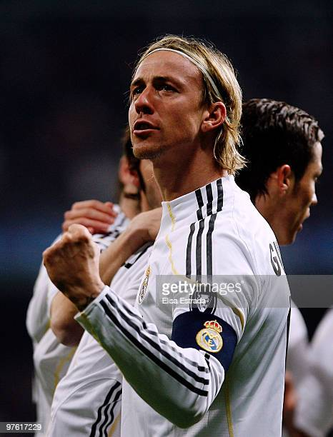 Guti of Real Madrid celebrates his team's first goal during the UEFA Champions League round of sixteen, second leg match between Real Madrid and Lyon...