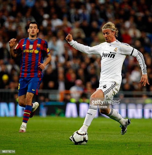 Guti of Real Madrid gives a pass during the La Liga match between Real Madrid and Barcelona at Estadio Santiago Bernabeu on April 10, 2010 in Madrid,...