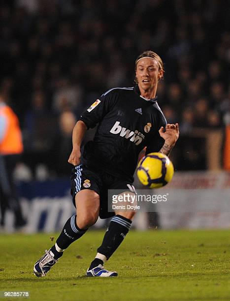 Guti of Real Madrid passes the ball during the La Liga match between Real Madrid and Deportivo La Coruna at the Riazor Stadium on January 30 2010 in...