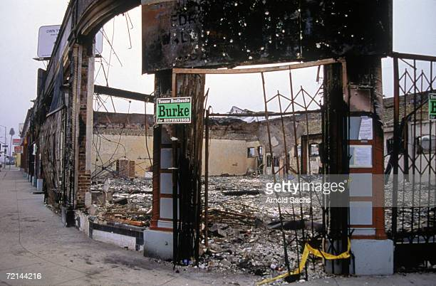 Gutted building in the aftermath of the 1992 Los Angeles riots, which followed the beating of black motorist Rodney King by members of the LAPD.