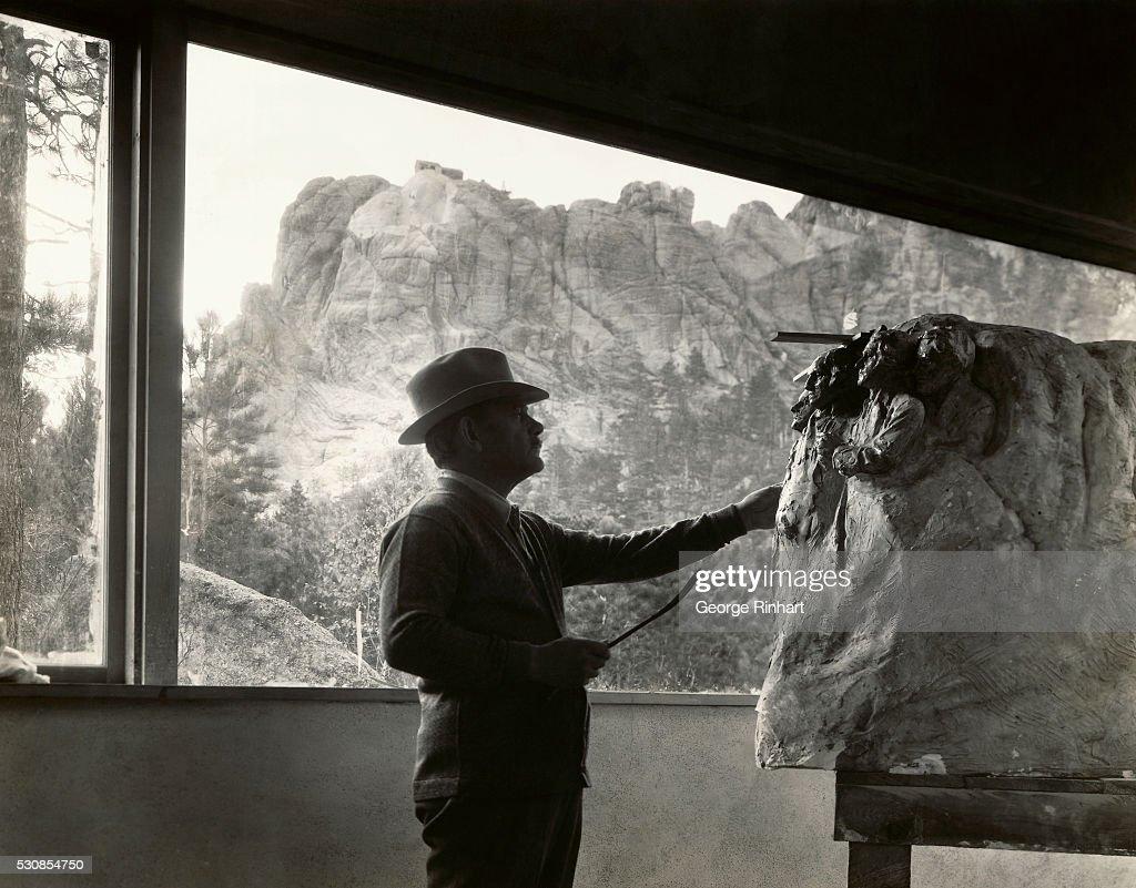 Gutzon Borglum Working on Model : News Photo