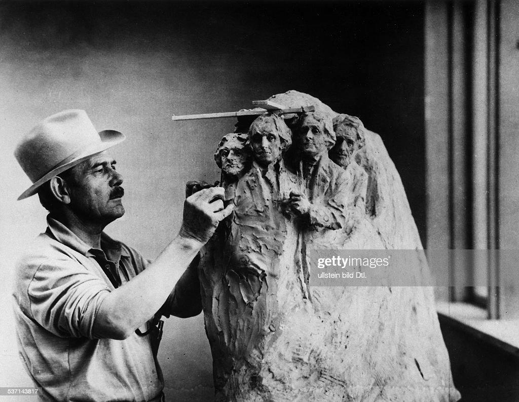 Gutzon Borglum, sculptor, architect USA, working on a draft for the Mount Rushmore National Memorial. Photo by Keystone : News Photo