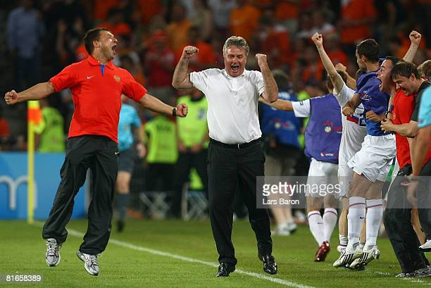 Guus Hiddink , head coach of Russia celebrates after Dmitri Torbinskiy of Russia scores his teams second goal of the game during the UEFA EURO 2008...
