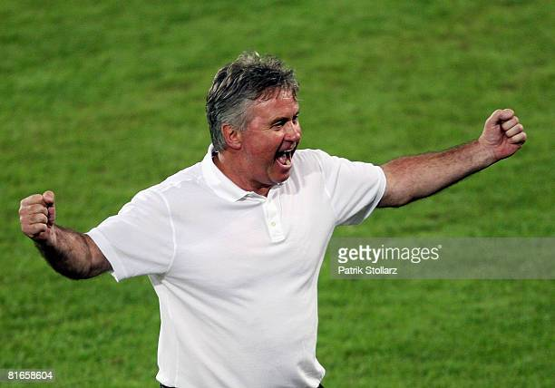 Guus Hiddink, head coach of Russia celebrates after winning the UEFA EURO 2008 Quarter Final match between Netherlands and Russia at St. Jakob-Park...