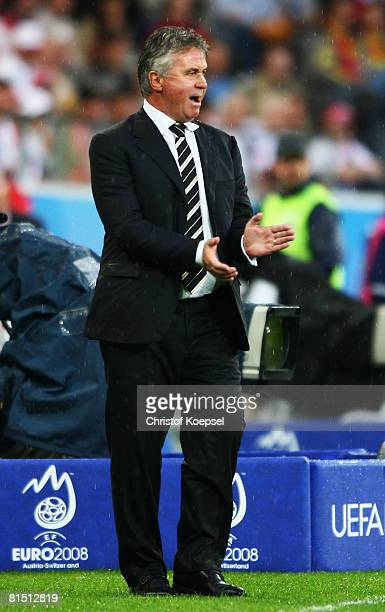 Guus Hiddink head coach of Russia reacts during the UEFA EURO 2008 Group D match between Spain and Russia at Stadion Tivoli Neu on June 10 2008 in...