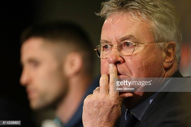 Guus Hiddink, interim manager of Chelsea attends a Chelsea press conference ahead of their UEFA Champions League round of 16 second leg match against...