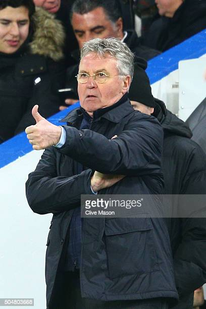 Guus Hiddink interim manager of Chelsea gestures during the Barclays Premier League match between Chelsea and West Bromwich Albion at Stamford Bridge...