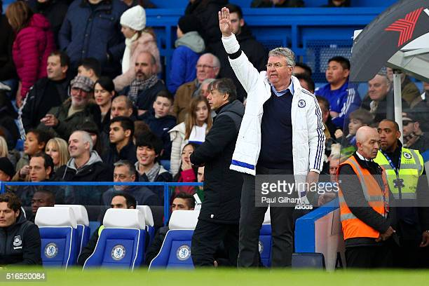 Guus Hiddink interim manager of Chelsea gestures during the Barclays Premier League match between Chelsea and West Ham United at Stamford Bridge on...