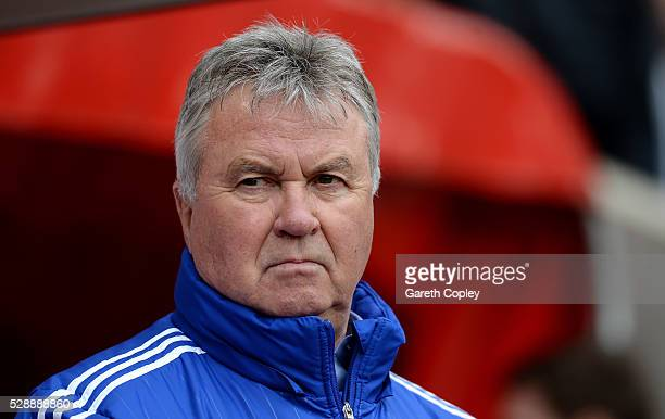 Guus Hiddink interim manager of Chelsea looks on prior to the Barclays Premier League match between Sunderland and Chelsea at the Stadium of Light on...