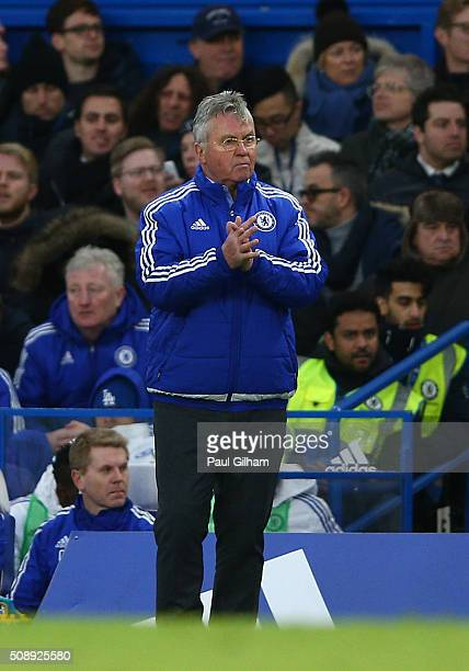 Guus Hiddink looks on during the Barclays Premier League match between Chelsea and Manchester United at Stamford Bridge on February 7 2016 in London...