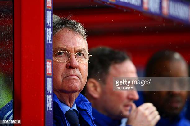 Guus Hiddink, manager of Chelsea looks on before the Barclays Premier League match between Crystal Palace and Chelsea at Selhurst Park on January 3,...