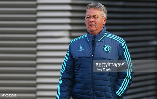 Guus Hiddink manager of Chelsea looks on during a Chelsea training session ahead of their UEFA Champions League round of 16 match against Paris...