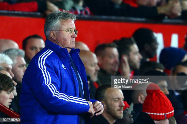 Guus Hiddink manager of Chelsea looks on from the bench during the Barclays Premier League match between Manchester United and Chelsea at Old...