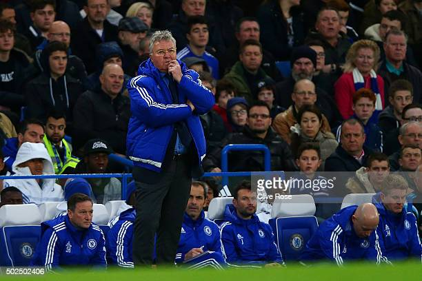 Guus Hiddink, manager of Chelsea watches the action from his technical area during the Barclays Premier League match between Chelsea and Watford at...