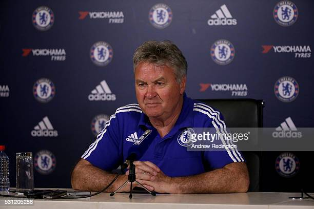 Guus Hiddink the Chelsea manager is pictured during a press conference at Chelsea Training Ground on May 13 2016 in Cobham England